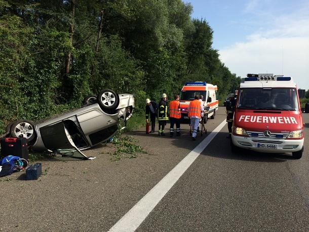 Verkehrsunfall, Autobahnkreuz Weinheim